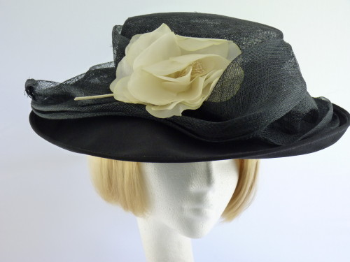 British Hat Guild Ascot hat Black and Pale Cream