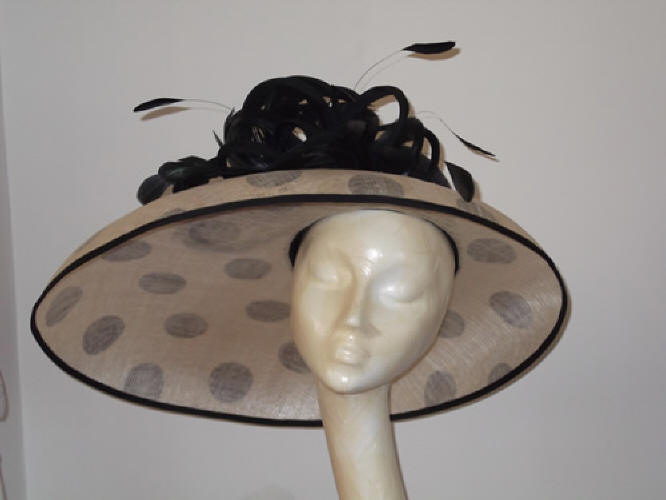 Designer Millinery by Rachel Wykes Ascot hat Black and Mink