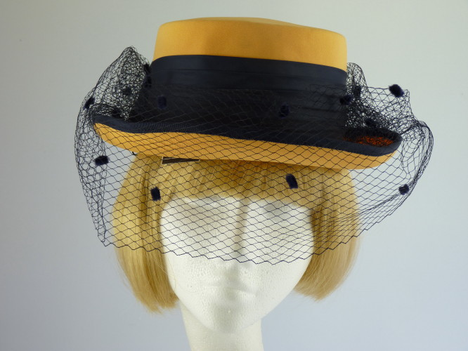 Wedding Hat Gold and Navy with bow
