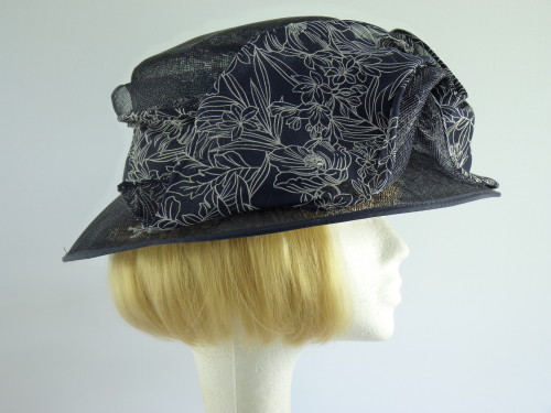 Cappelli Condici Ascot hat Navy Pattern