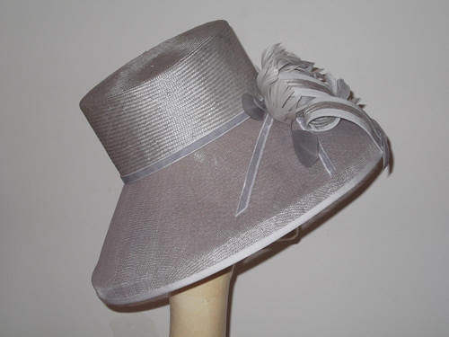 Designer Millinery by Rachel Wykes Ascot hat Silver Grey feather rose