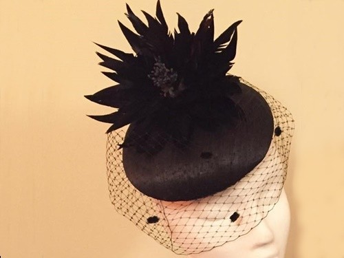 Ashleigh Myles Millinery Black Abaca Silk Headpiece