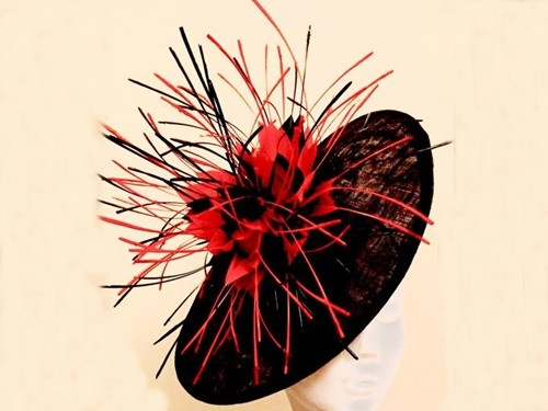 Ashleigh Myles Millinery Black and Orange Sinamay Saucer Hat
