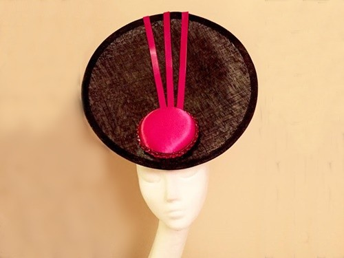 Ashleigh Myles Millinery Black and Fuschia Sinamay Saucer Hat