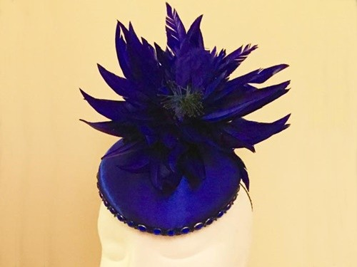 Ashleigh Myles Millinery Cobalt Blue Satin Headpiece