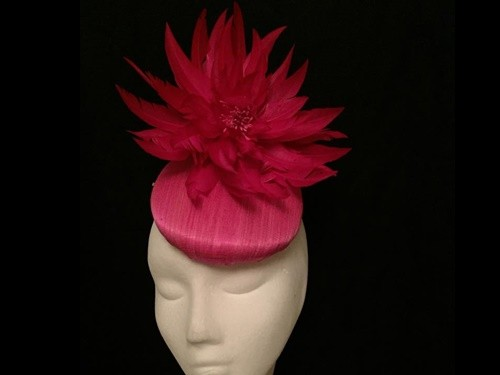 Wedding Hats 4U - Ashleigh Myles Millinery Fuschia Pink Abaca Silk ... 98fe72ce079