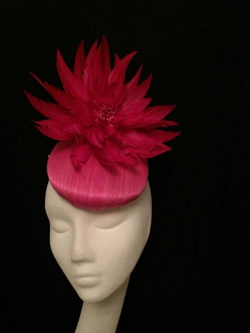 Ashleigh Myles Millinery Fuschia Pink Abaca Silk Headpiece