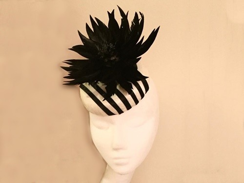 Ashleigh Myles Millinery Ivory and Black Abaca Silk Headpiece