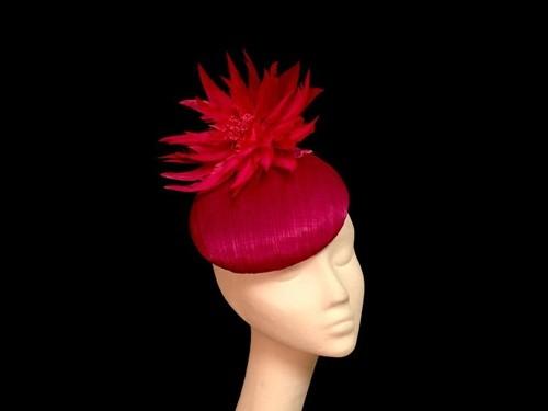 Ashleigh Myles Millinery Magenta Abaca Silk Headpiece