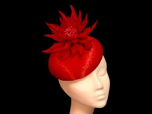 Ashleigh Myles Millinery Red Abaca Silk Headpiece