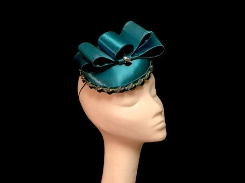 Ashleigh Myles Millinery Turquoise Satin Headpiece