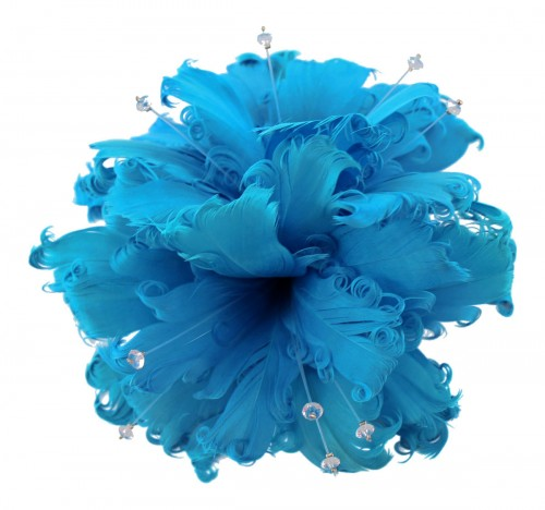 Failsworth Millinery Feather and Diamante Fascinator in Azure