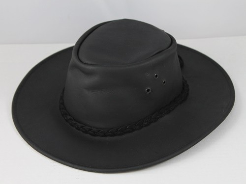 B.E. Hats Leather Hat in Black