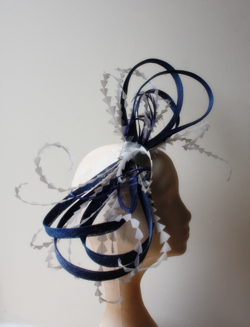 Couture by Beth Hirst Royal Blue and Silver Bow Fascinator
