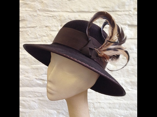 Couture by Beth Hirst Chocolate Felt hat with feathers