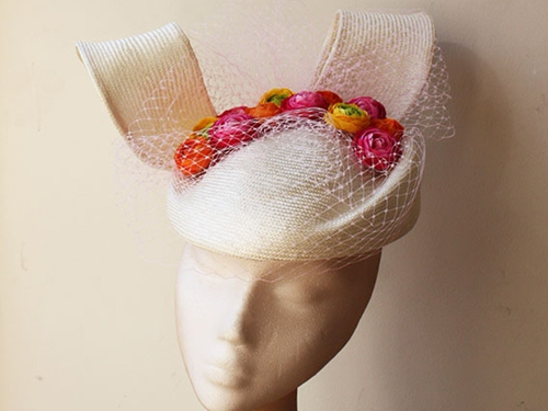 Couture by Beth Hirst Straw Percher with Flowers and veiling