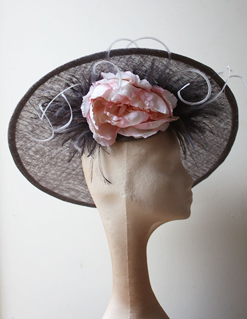 Couture by Beth Hirst Grey and Pink Flower Saucer
