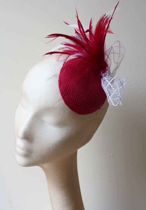 Couture by Beth Hirst Pink Straw Button with feather detail
