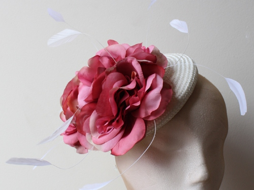 Couture by Beth Hirst Ivory beret with Pink Flowers