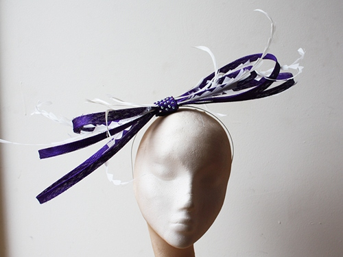 Couture by Beth Hirst Purple Bow with White Feathers