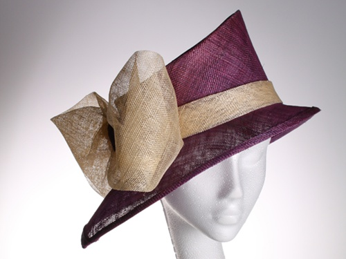 Couture by Beth Hirst Purple Asymmetrical Hat with Bow