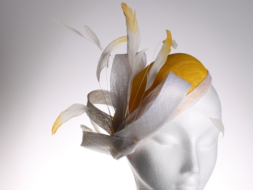 Couture by Beth Hirst Yellow and White Beret
