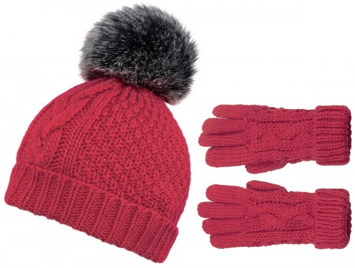 Boardman Cable Knit Bobble Hat with Matching Gloves