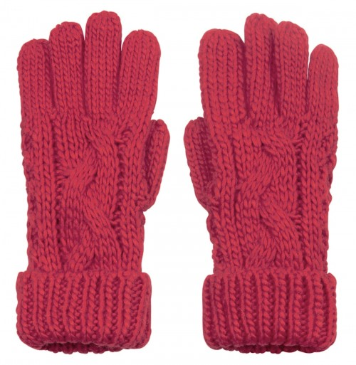 Boardman Cable Knit Gloves in Berry