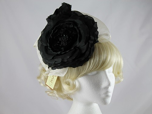 Failsworth Millinery Black and Ivory Flower Headpiece