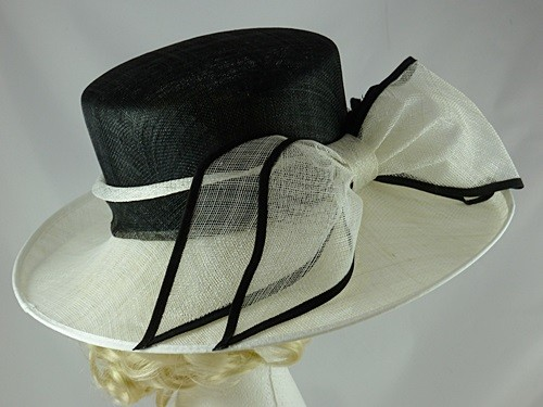 fe43d4b4984 Wedding Hats 4U - Hawkins Collection Large Bow Wedding Hat in Black and  White