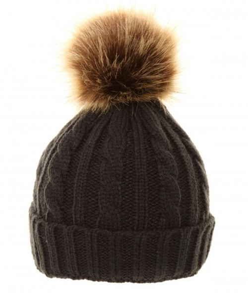 Wedding Hats 4U - Cable Knit Kids Hat with Pom Pom in Black - C510 427ff8e67ee