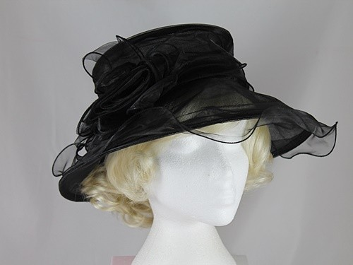 Elegance Collection Organza Occasion Hat in Black
