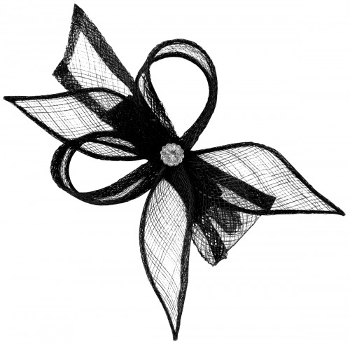 Elegance Collection Diamante Clip Fascinator in Black
