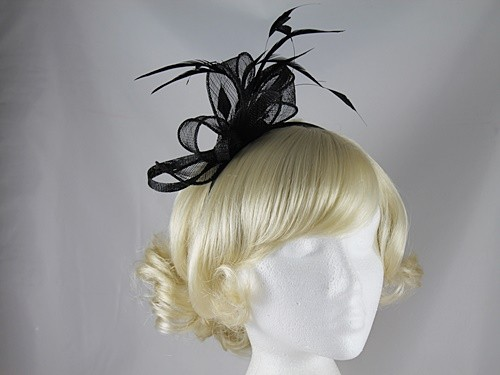 Elegance Collection Feathers and Loops Fascinator in Black