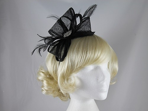 Elegance Collection Diamante and Loops Fascinator in Black