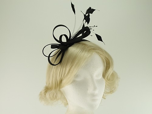 Elegance Collection Satin Loops Aliceband Fascinator with Matching Bag