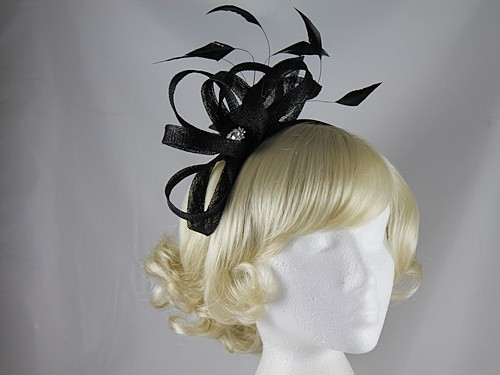 Elegance Collection Fascinator with Diamante in Black