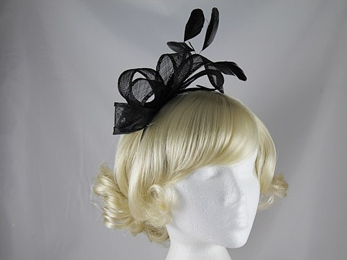 Elegance Collection Loops Fascinator in Black