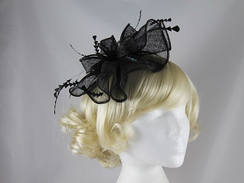 Elegance Collection Waves Fascinator in Black