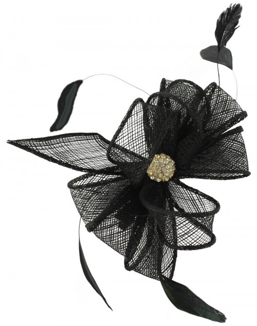 Elegance Collection Small Clip Diamante Fascinator in Black