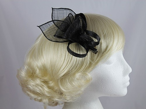 Fascinators 4 Weddings - Elegance Collection Small Sinamay Fascinator in  Black 2b0cafb2bc1