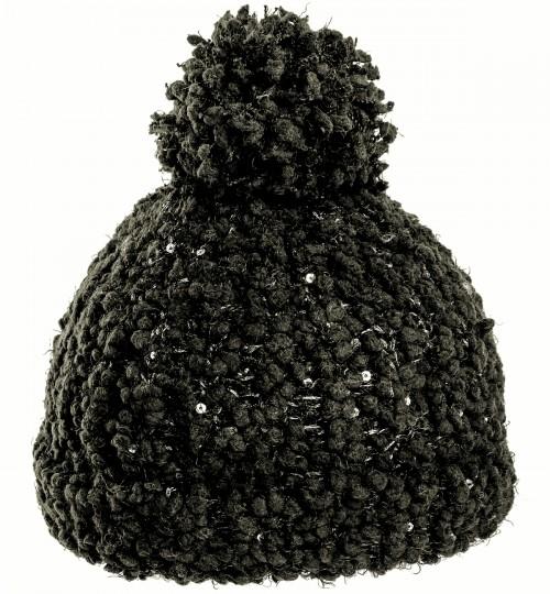 Hawkins Ladies Sequined Popcorn Yarn Bobble Hat
