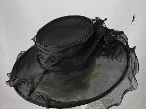 Wide Brimmed Rosette Organza Hat