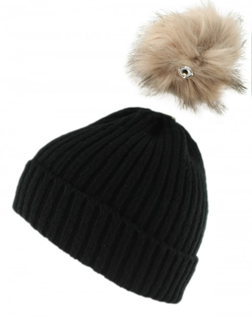 Zelly Detachable Bobble Beanie Hat in Black