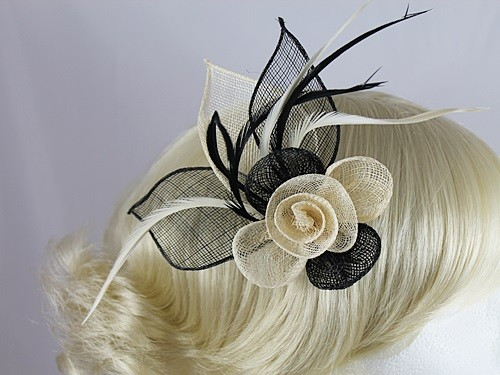 Black and Cream Flower Fascinator
