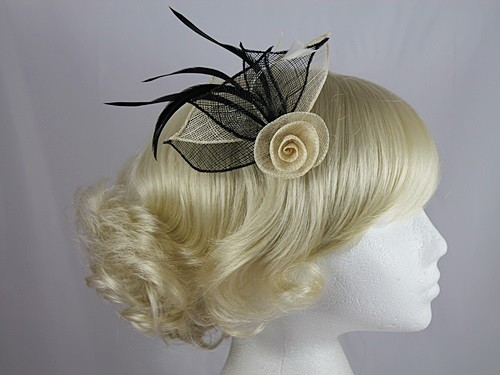 Black and Cream Rose Fascinator