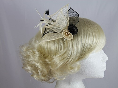 Black and Cream Twin Rose Fascinator