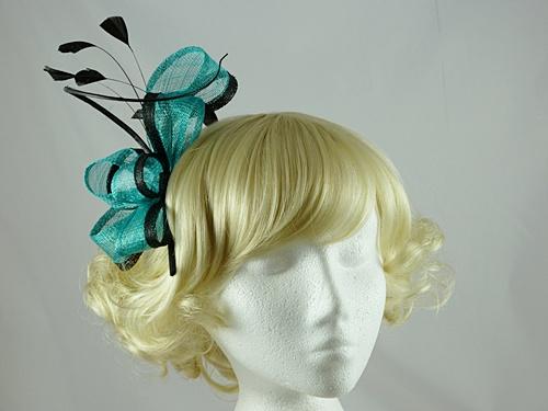 Wedding Hats 4U - Twist and Quill Fascinator in Black   Jade 62d38a73b2c