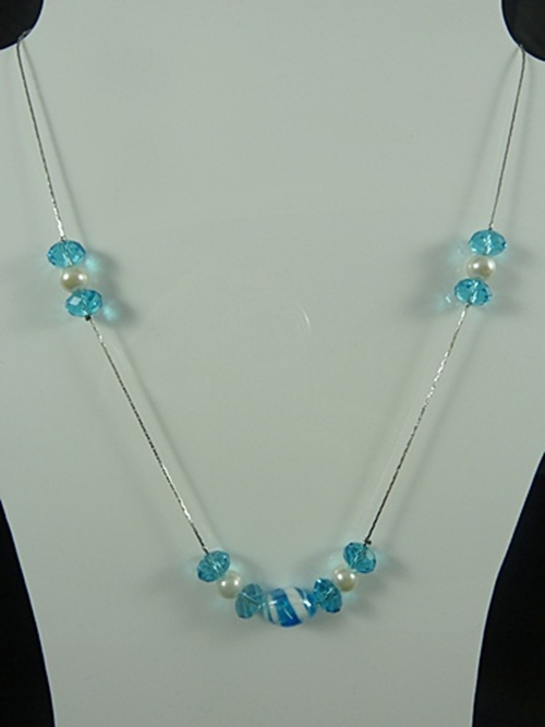 Bead and Pearl Necklace.