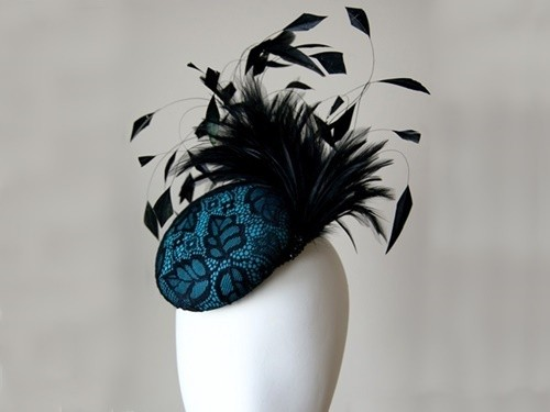 Elouise Collection Silk and Black Lace Fascinator Hat